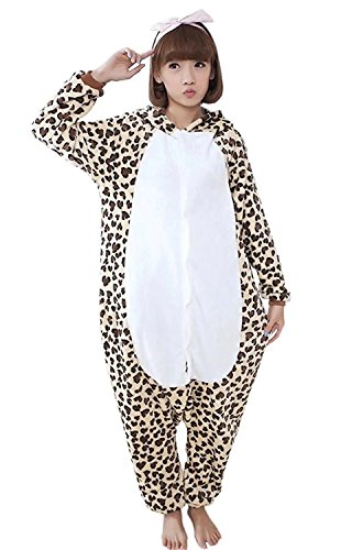 Female Assassins Creed Cosplay Costume (Ameyda Womens Mens Kigurumi Flannel Onesie Pajamas Loungewear Leopard Bear)