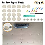 EZYKOO 60 pcs Car Roof Headliner Repair Button, Auto Roof Snap Rivets Retainer Design for Car Roof Flannelette Fixed, with Installation Tool and Fit Most Cars(Grey Beige Grid)