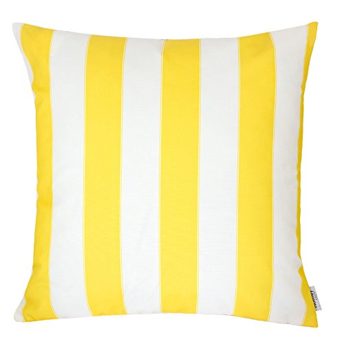 Yellow Striped Pillow - Homey Cozy Outdoor Throw Pillow Cover, Classic Stripe Yellow Large Pillow Cushion Water/UV Fade/Stain-Resistance For Patio Lawn Couch Sofa Lounge 20x20, Cover Only