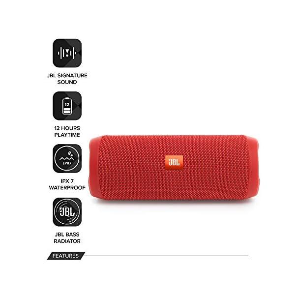 JBL Flip 4 - enceinte Bluetooth Portable Robuste - Étanche Ipx7 pour Piscine & Plage - Autonomie 12 Hrs - Qualité Audio JBL - Rouge 2
