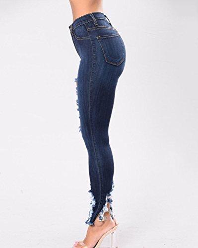 Jeans Rotos Denim Boyfriend Azul Skinny Pantalones Elástico Up Push Mujer Marino Vaqueros Hq8Zz6z