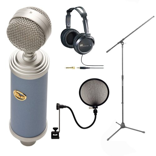 Bluebird Cardioid Condenser Microphone Bundle with Deep Bass Stereo Headphones and Earphones + CAD Audio Pop Filter on 15-Inch Gooseneck + Tripod Boom Microphone Stand
