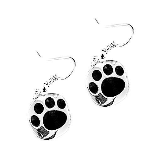 Joji Boutique Silver and Black Enameled Paw Print Drop Earrings