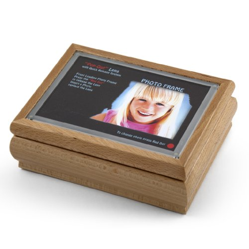 4'' X 6'' Light Wood Tone Photo Frame Music Box With New ''Pop-Out'' Lens System - Love is Blue (L'amour est Bleu) - SWISS by MusicBoxAttic