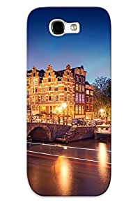 Durable Defender Case For Galaxy Note 2 Tpu Cover(amsterdam Netherlands Holland City Night Bridge Canal Lights Exposure Light Lighting Lights River Boats Trees )