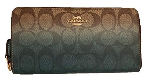 Coach Signature PVC Accordion Zip Around Wallet (Khaki & Green Multi/Gold)