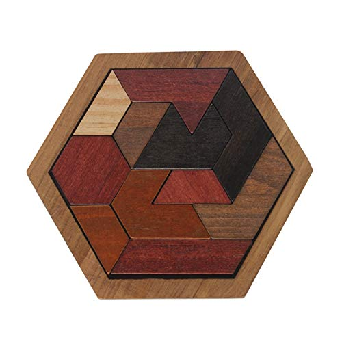 ptk12 Puzzles - Funny Puzzles Wood Geometric Abnormity Shape Puzzle Wooden Toys Tangram/Jigsaw Board Kids Children Educational Toys for Boys 1 PCs ()