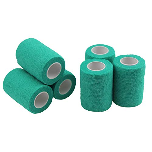MUEUSS Self-Adhesive Bandage Wrap Tape Waterproof Breathable Elastic Cohesive Non-Woven FDA Approved 3 Inches x 5 Yards (Green, 6 roll)