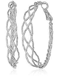 Guess Braided Silver Hoop Earrings