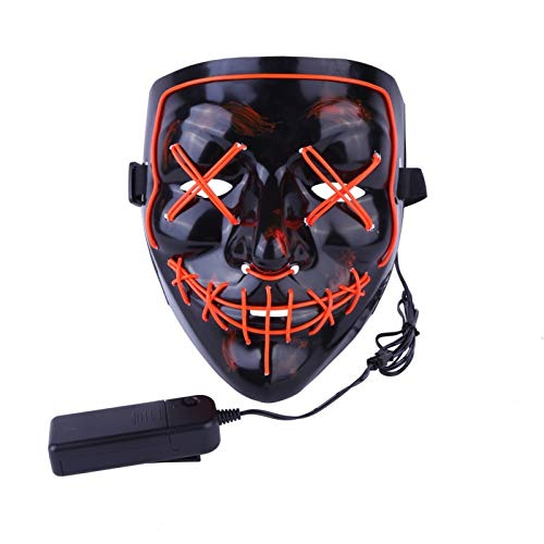 Buildent - Halloween Mask LED Light Up Party Masks The Purge Election Year Great Funny Masks Festival Cosplay Costume Supplies Glow in Dark [Red]