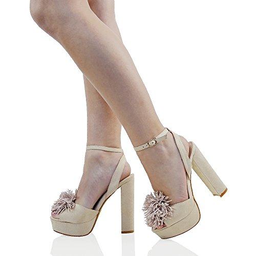ESSEX GLAM Gamuza Sintética Sandalias de punta abierta con plataforma, tacón alto cuadrado y tiras de flecos Desnudo Gamuza Sintética