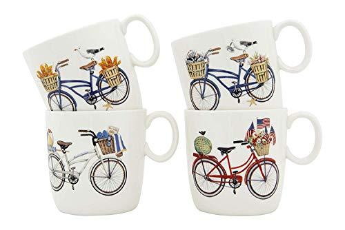 Summer Bicycle Ceramic Mugs (Set of 4)