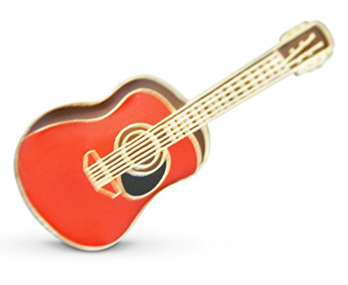 3-Piece Red-Toned Acoustic Guitar Musician Lapel or Hat Pin & Tie Tack Set with Clutch Back by Novel - Lapel Guitar Pin
