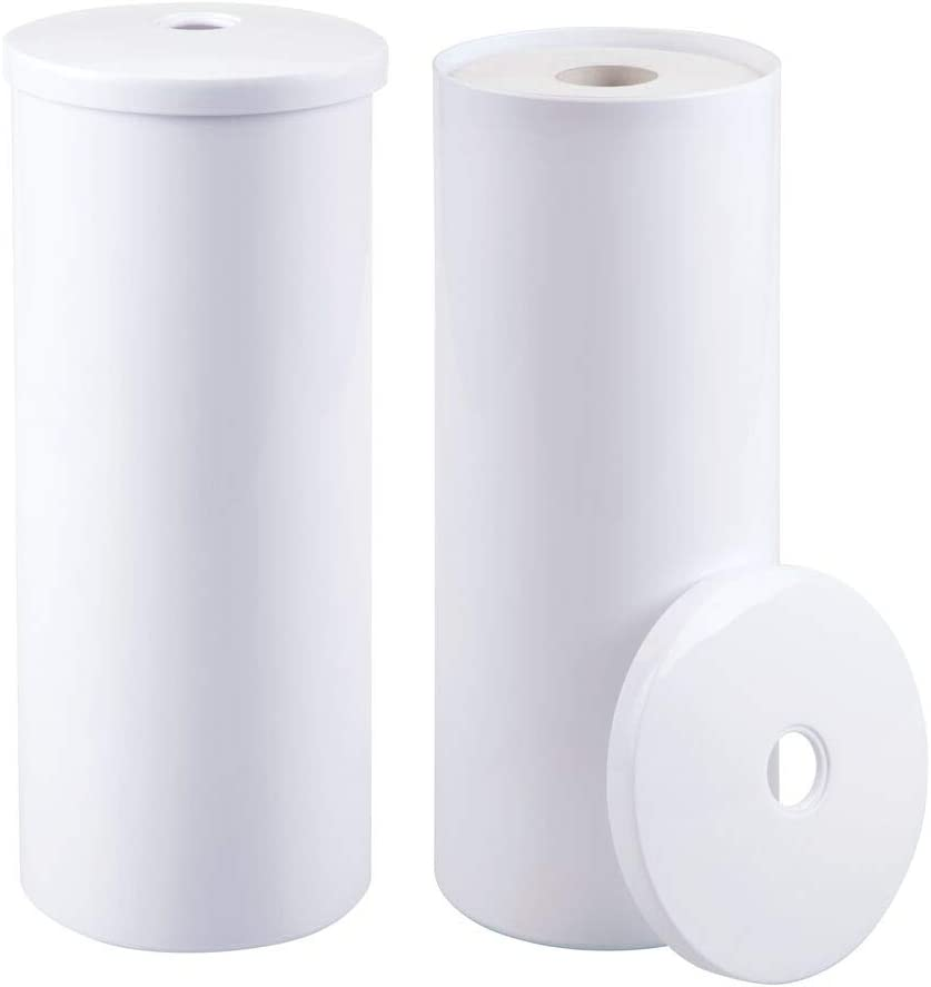 mDesign Modern Plastic Toilet Tissue Paper Roll Holder Canister Stand with Lid - Vertical Bathroom Storage for 3 Rolls of Toilet Tissue - Holds Large Mega Rolls - 2 Pack - White: Home & Kitchen