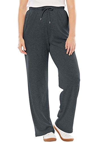 Drawstring Straight Leg Pant - Women's Plus Size Sport Knit Straight Leg Pant Heather Charcoal,2X