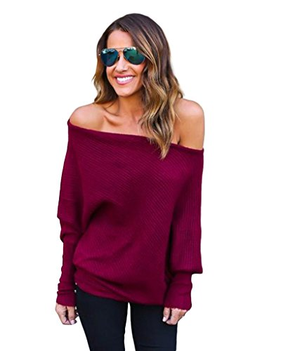 abd-womens-off-shoulder-bat-wings-loose-pullover-sweater-knit-jumper-wine-red-medium