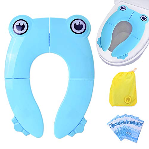 EVILTO Portable Potty Training Seat for Boys, Baby, Kid, Toddler and Girls, Upgrade Ring Toilet Training Seat Cover Travel Folding Non-Slip Pads Trainer Blue