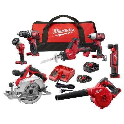 Milwaukee M18 18-Volt Lithium-Ion Cordless Combo Kit (7-Tool) w/(2) Batteries, Charger, (1) Tool Bag by Milwaukee
