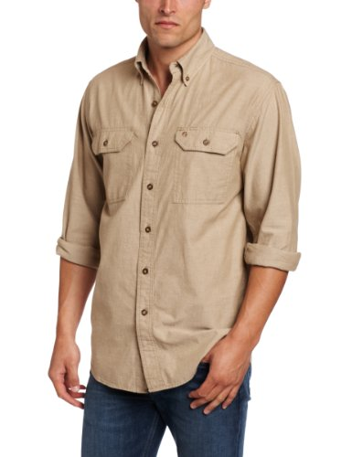 (Carhartt Men's Long-Sleeve Lightweight Chambray Button-Front Relaxed-Fit Shirt S202, Dark Tan, 3X-Large)
