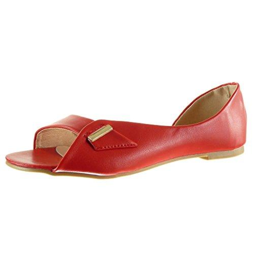 Angkorly - Zapatillas de Moda Sandalias abierto sexy mujer tanga Hebilla dorado Talón Tacón ancho 1 CM - Rojo