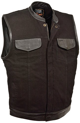 Milwaukee Men's Denim Club Vest with Leather Trims (Black, - Domain Shops Austin
