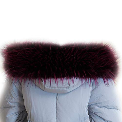 Hood for Wrap MAGIMODAC Parka Coat Fake Fur Full Trim Collar Faux Jacket Fur Winter Purple Luxurious Scarf qnqPwITg