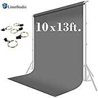 LimoStudio 10 x 13 ft. Photo Studio Muslin Backdrop Background Gray Photography Backdrop with Backdrop Holder