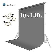LimoStudio 10 x 13 ft. Photo Studio Muslin Backdrop Background Gray Photography Backdrop with Backdrop Holder
