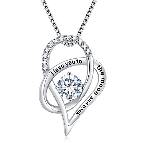 SOMEN TUNGSTEN Sterling Silver I Love You to The Moon and Back Cubic Zirconia Necklace Heart Pendant by SOMEN TUNGSTEN