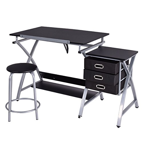 Tangkula Drafting Table Art & Craft Drawing Desk Art Hobby Folding Adjustable w/ Stool (Black)