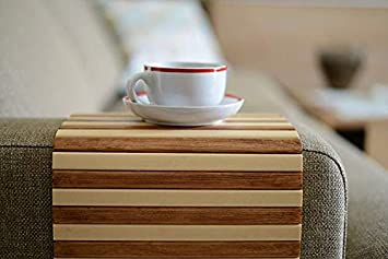Couch Arm Tray for Coffee, Wine, Beer, Snacks and Remote Control Natural Wood Sofa Armrest Table Works As Coaster and is Foldable and Portable