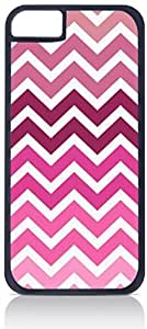 Pink Toned Chevrons- Case for the Apple Iphone 4-4s Universal-Hard Black Plastic Outer Shell with Inner Soft Black Rubber Lining