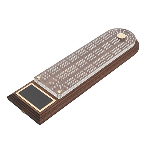 Christian Martin Deluxe Trophy Cribbage Board-Solid American Black Walnut with Clear Acrylic Top, 3 Tracks, 6 Pegs Included