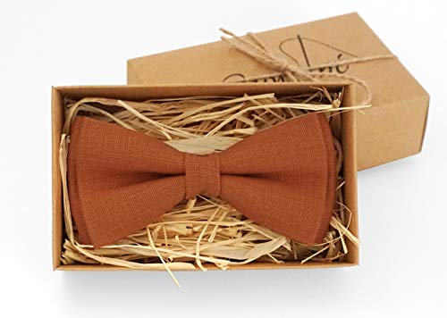 Burnt orange bow tie for wedding/Bow ties for men/Burnt orange linen bow tie/Festival bow tie for groomsmen/Burnt orange boys bow ties Kids bow ties Wedding orange bow ties (Burnt Orange Weddings)