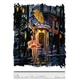 """Krezy Decor Canvas Print Wall Art 12""""x16"""" Watercolor Dancing Couple Street Umbrella Torn Edges Painting Parks Outdoor Stretched Artwork Painting Home Decor Living Room Office"""