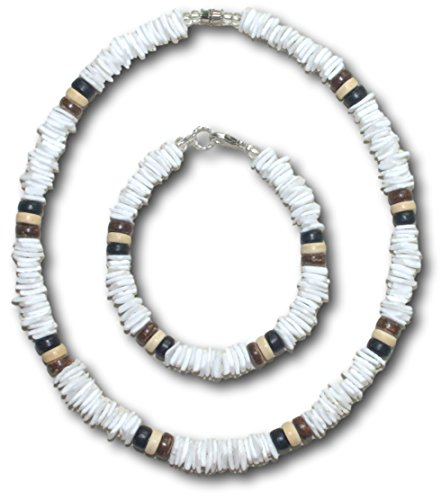 Native Treasure - 2pc Set, White Clam Chips 3-Coco Puka Shell Necklace and Bracelet (Puka Shell Bracelet)