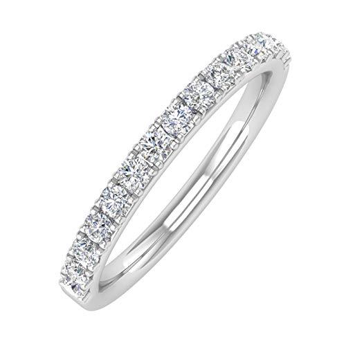 1/3 Carat Diamond Semi-Eternity Wedding Band Ring in 10K White Gold - IGI Certified (Ring Size 7)