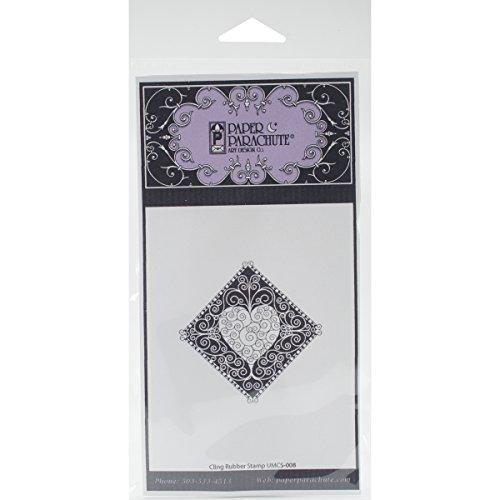 Paper Parachute UMCS008 Diamond Swirl Heart Cling Rubber Stamps, 1.75
