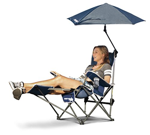Sport-Brella 3-Position Recliner Chair with Removable Umbrella and Footrest, Midnight Blue