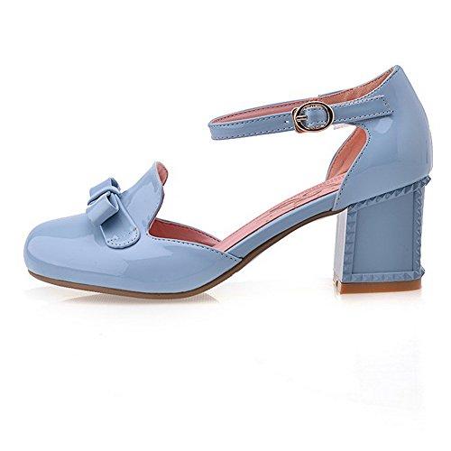 Agoolar Heel Closed Sandalo Toe Solid Round Wide Women Blu Buckle qq41fF