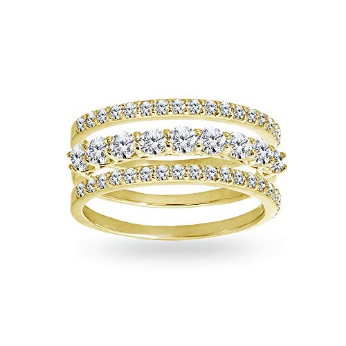 Yellow Gold Flashed Sterling Silver Cubic Zirconia Stackable Eternity Band Three Ring Set, Size 5