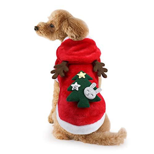 Idepet Dog Cat Christmas Outfit Coat Sweater Santa Claus Cartoon Reindeer Costume Soft Warm Coral Fleece Pet Hoodie…