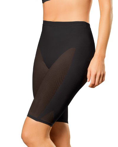 Leonisa Women's Invisible Seamless Rear Lift Tummy and Thigh Shaper,S-M,Black