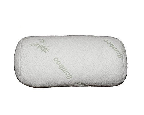 """Bolster Bamboo Pillow - Back Pain Relief Bolster cushion - Visco-Elastic Memory Foam, Hypo-Allergenic - Full Round White Smooth Cover - Suits Yoga Exercise -  For Legs & Knees Relief - 18X8X8"""""""