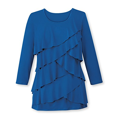 Women's Ruffle Front Long Sleeve Scoop Neck Top, Royal Blue, Large - Made in The ()