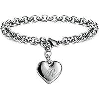 Select Monily Initial Stainless Steel Heart 26 Letters Women's Bracelet (Multiple Option)
