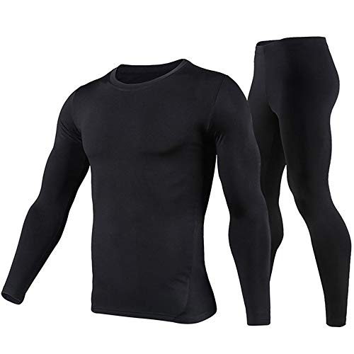 (PISIQI Thermal Underwear Men Ultra-Soft Long Johns Set Base Layer Skiing Winter Warm Top & Bottom)