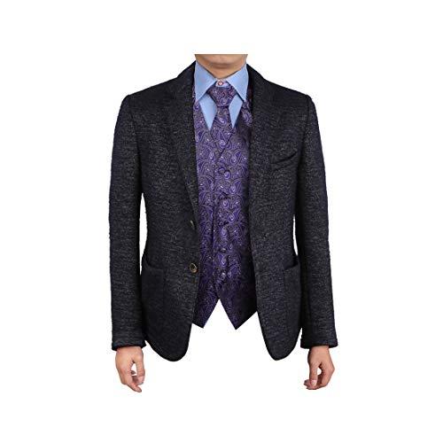 (Epoint EGD1B08C-4XL Blue Black Patterns Waistcoat Tie Set Microfiber For Business Vest and Neck Tie)