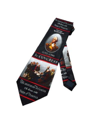 Steven Harris Mens George Washington Necktie - Black - One Size Neck Tie - History Of The Necktie