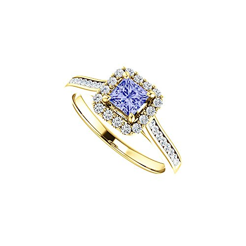 (1 CT Channel Set CZ Accented Tanzanite Halo Ring Gold)